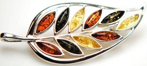 Multicoloured Silver Amber Leaf Brooch